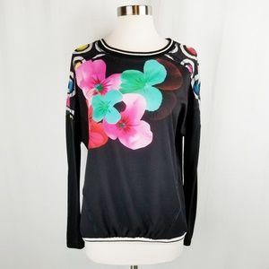 Desigual floral crewneck dolman sleeve top Medium